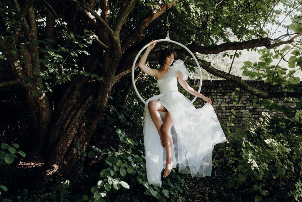 Beautiful Bride in a Swing